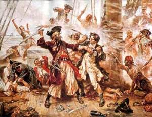 Painting of Blacbeard Fighting Maynard