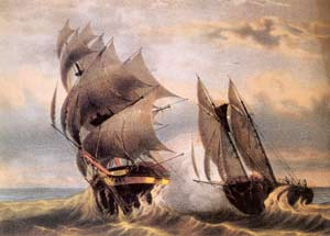 Pirate Ship Attacking Merchant Ship